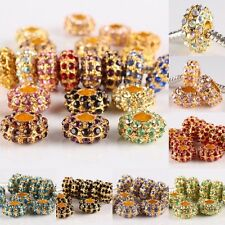 Wholesale Crystal Rhinestone Golden Large Hole Spacer Beads Fits Charms Bracelet