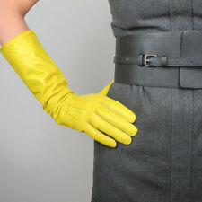 Real Leather Gloves 15 inch Long Yellow Genuine Sheepskin Women