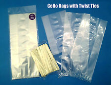 Gusseted CELLO BAGS & GOLD TWIST TIES 4 Cookies Candy Clear Food Special Square
