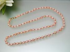 Vintage 5 mm nature mixed white to light pink Coral single Necklace gold clasp