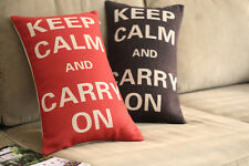 Vintage Cotton Linen Cushion Cover Home Decor Keep Calm and Carry On