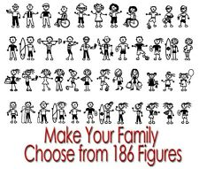 FAMILY FIGURES MOM DAD KIDS PETS CUSTOM CAR WIDOW VINYL DECAL STICKER (FS-11)