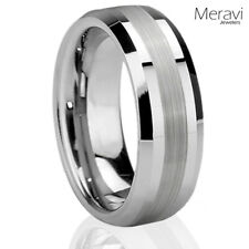 Tungsten Carbide Silver Brushed Wedding Promise Ring Mens Comfort Fit Band 6-13
