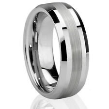 Silver Tungsten Carbide Brushed Wedding Ring Men's Jewelry Comfort Fit Band 6-15