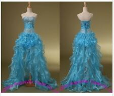 Front Short Long Back Blue Crystals Organza Prom Dress Homecoming Evening Dress