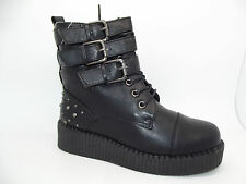 NEW LADIES GIRLS EX STORE STUDDED GOTH PUNK LACE-UP CREEPER BOVVER BOOTS Sz 3-8
