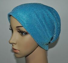 New Metalic Lame 2Ply Under Scarf Shawl Hair Loss Hijab Chemo Cap multi-Color