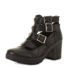 Womens Chunky Heeled Cut-Out Black Leather Style Ladies Ankle Boots Size 3-8
