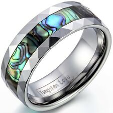 8mm Tungsten Carbide Ring w Abalone Shell Inlaid Beveled Edge Mens Womens Band