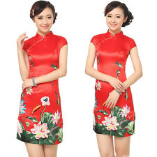 Retro Chinese Women Cheongsam Qipao Evening Ball Gown Party Lotus MIni Dress Red