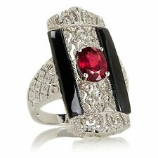 "Rarities  Ruby, Black Spinel and Diamond ""Art Deco"" Ring sterling silver"
