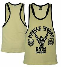 Men's Muscle Works Gym London Stringer  VESTS TANK TOP SUMMER TRAINING Tops Yell