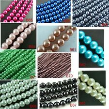 Round Glass Pearl Spacer Beads 11 Colors 4mm/220pcs 6mm/140pcs 8mm/50pcs U Pick