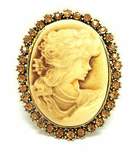 Victorian Antique Gold Silver Lady Cameo Brooch Pin Jewellery Badge