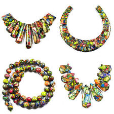 Rainbow Sea Sediment Jasper Turquoise Bib Necklace Bead Set / Round Beads Strand
