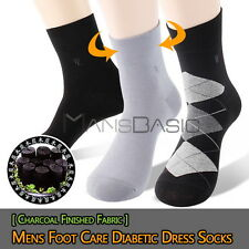 2 or 6 Pairs Mens Performance Foot Care Diabetic Quarter Dress Socks Black Gray