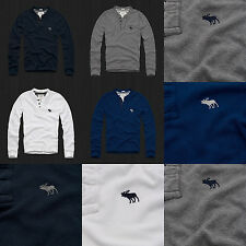NWT AF Abercrombie & Fitch Men Muscle Fit Lewey Mountain Henley By Hollister