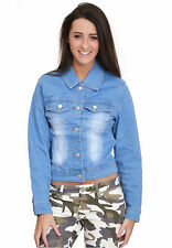 New Ladies Womens Fitted Stretch Light Blue Faded Denim Jacket Jeans Coat
