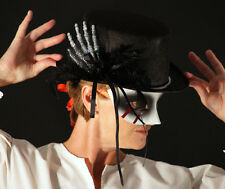 Gothic-STEAMPUNK SKELETON HAND TOP HAT WITH RIBBONS AND FEATHERS