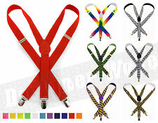 Mens Ladies Adjustable Unisex Trouser Suspenders Slim Braces Clip On Fancy Dress