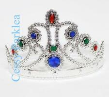 King Queen Crown Gold Silver Plastic Jewels Costume Accessories