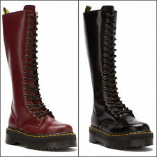 DR. MARTENS WOMENS BRITAIN 20 EYE AGGY STYLE BLACK RED TALL BOOT US EU UK 8 9 10