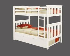 TWIN OVER TWIN KID'S BUNK BED W/ OPTIONAL DRAWERS, TRUNDLE AND/OR TENT  - WHITE