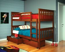 TWIN - TWIN BUNK BED W/ DRAWERS AND/OR TENT - ESPRESSO - BUNK BEDS