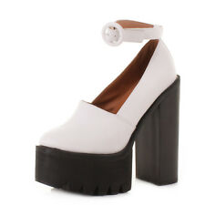 Womens Huge White Platform High Heel Block Ankle Strap Court Shoes Size 3-8