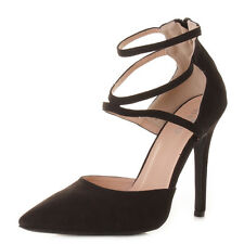 WOMENS ANKLE STRAP STILETTO HEEL POINTY TOE COURT SHOES HIGH HEELS SIZE 3-8