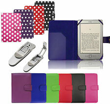 LEATHER CASE COVER WALLET WITH LIGHT FOR AMAZON KINDLE 4 4TH GEN & KOBO TOUCH