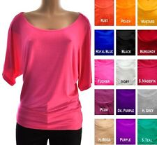 Solid Batwing Dolman Short Slv Rayon Gimono Loose Fit Casual TEE SHIRT Top S-3XL