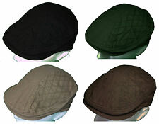 Mens Flat Cap Newsboy Gatsby Cotton Large Elasticated Black Beige Brown Green