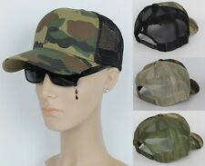 Authentic Trucker Style CAMOUFLAGE Baseball Hat Cap Snap Back Fabric/Mesh CAMO