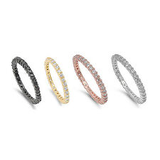 STACKABLE CZ ETERNITY BAND Sterling Silver Wedding Ring Band 2MM Sizes 4-10 Ster
