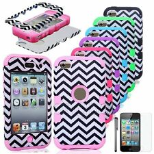 Hybrid Waves Print Rugged Rubber Matte Hard Tuff Case Cover For iPod Touch 4 5