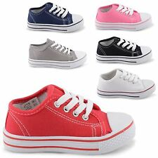 NEW KIDS YOUTH INFANTS CANVAS TRAINERS COMFORTABLE PLIMSOLE PUMPS UK SIZE 6-5