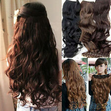 Fancy Womens Full Head Clip Curly Wavy Synthetic Hair Extension Extensions B34U