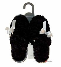 Charter Club Women's Slippers Black with Silver Bow Faux Fur Scuff CCP002BLK $30