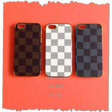 For Apple iPhone 5 5s Luxury Deluxe Checker Hard Case/Cover + Free Gift #LV08GG