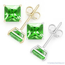 Faux Green Emerald Square Princess Cut CZ Crystal Stud Earrings Sterling Silver