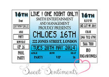 Any Age Any Colour  Personalised Concert Ticket Style  Birthday Invitation x10