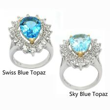 De Buman 14K YG & Sterling Silver with 6.02ctw Genuine Blue and White Topaz Ring