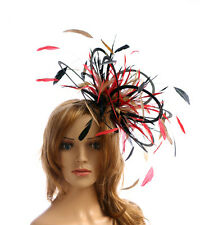 NEW Black Gold Red Feather Fascinator Hat Choose any colour satin and feathers