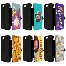 fun food snacks sweets Biscuit PU Leather flip Phone Case Cover iPhone 4 4s 5 5s