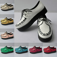 WOMENS FAUX LEATHER PLATFORM LACE UP FLATS CREEPERS WINTER SHOES SIZE AU 3.5-8.5