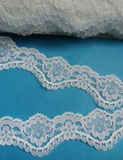 """1.5"""" Wedding Bridal Off White Floral Scallop Lace Trim- 1 or 5 Yards (T679WO)"""