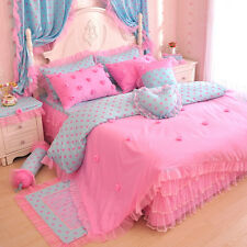 Pink Blue Rose Girls Polka Dot Lace Tulle Ruffle Bowtie Bedding