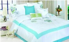 7-PC white l.blue green comforter set bed in a bag new over size queen and king