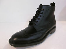 Mens BURFORD 2 Black Leather Ankle Lace-up brogue boots by LOAKE